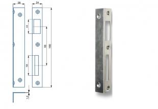 Zapadací plech úhlový 1/1  - pro zámek s roztečí 72,90 mm