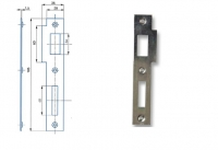 Zapadací plech rovný 2/2 - pro zámek s roztečí 90mm