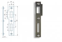K 183 Zapadací plech rovný - pro zámek s roztečí 72mm, levý nebo pravý